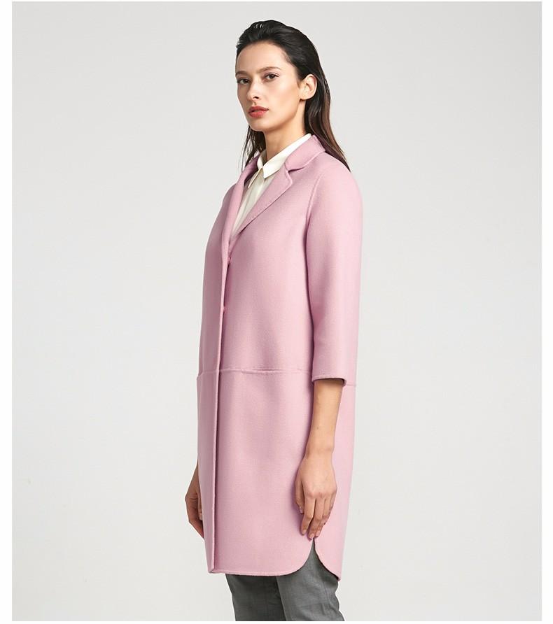 袖跺(h�(�_粉色优雅中袖双面呢大衣
