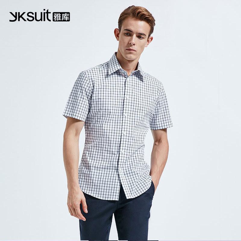 纯棉方领白蓝色条纹男士短袖衬衣