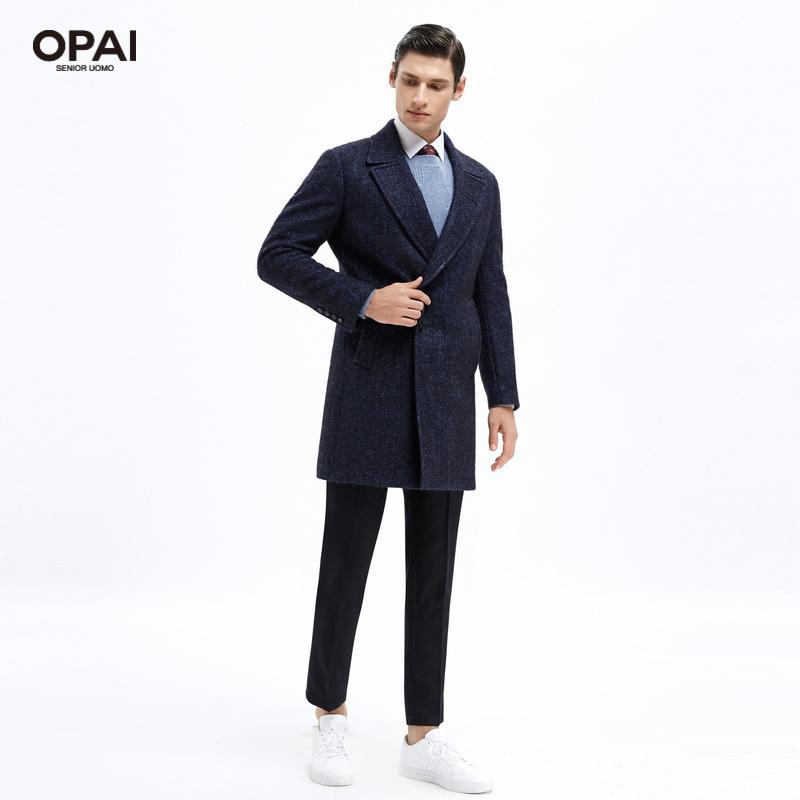 蓝色翻驳领不对称门襟设计感商务大衣