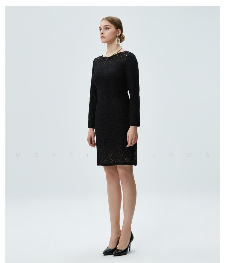 圆领长袖连衣裙_黑色圆领蕾丝长袖连衣裙