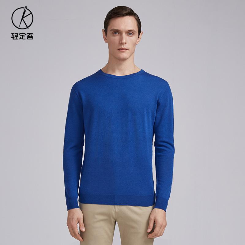 以纯圆领针织衫男_蓝色纯羊毛全成型男士圆领针织衫